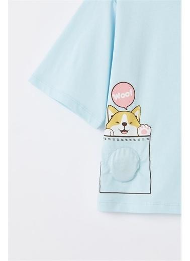 DeFacto Kız Çocuk Kedi Baskılı Crop Dokunmatik Işıklı Kısa Kollu Tişört Mavi